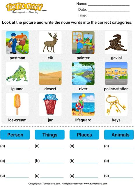 identify nouns   category worksheet turtle diary