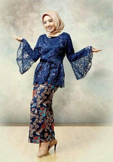 model baju batik kombinasi  brokat polos sifon