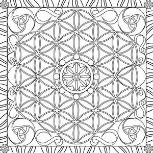 Coloring Page Book For Adults Square Format Flower Of Life ...