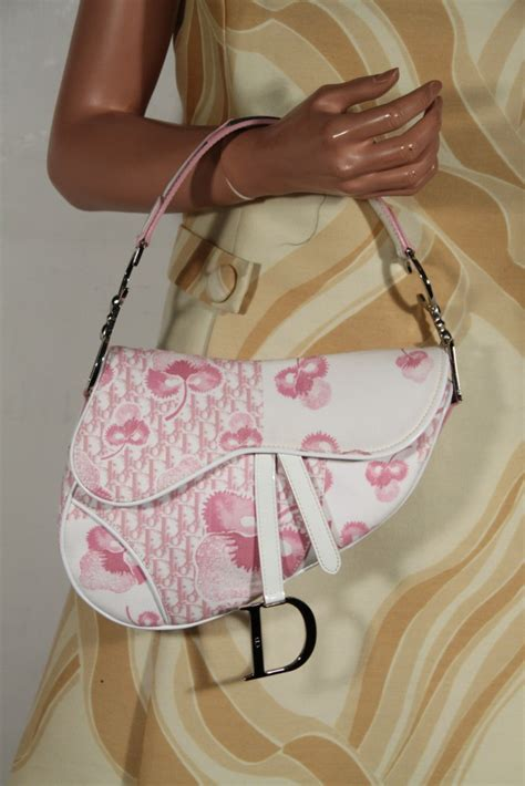 christian dior white pink girly flower monogram saddle