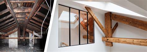 cuisine style loft loft sous comble aménagé pour location structures apparentes