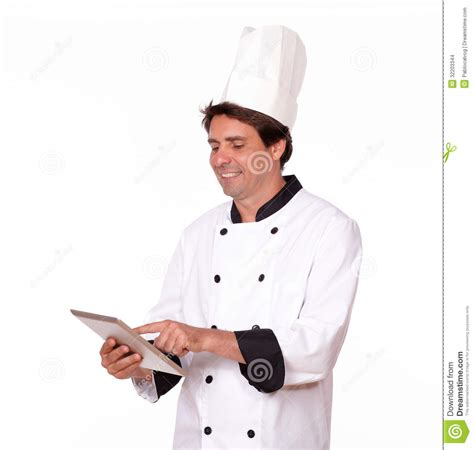 professional chef working  tablet pc stock images