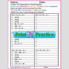 Order Of Operations Worksheets For Kids