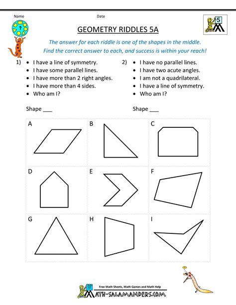 geometry worksheets grade 5 free geometry worksheets riddles