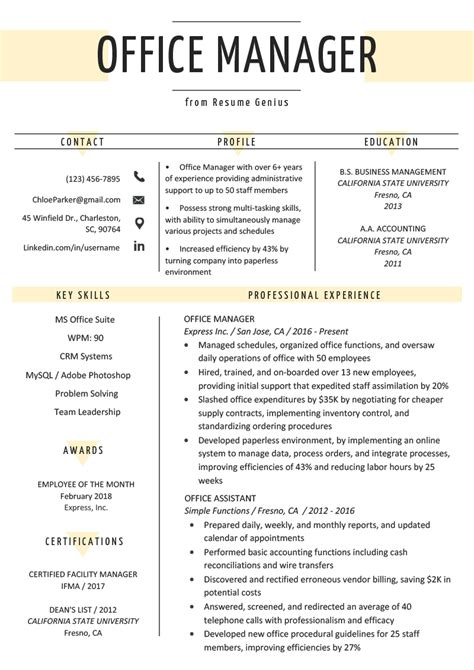 Manager Resume Template Free by Office Manager Resume Sle Tips Resume Genius