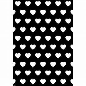 Papier Cadeau Blanc : papier cadeau grand coeur blanc sur noir ~ Teatrodelosmanantiales.com Idées de Décoration