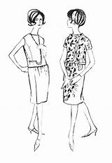1960s Dresses Line Drawings Colouring 1962 History Patterns Early Styles Sheath Costume Overblouse Era Jacket Trends Brooches Slimline Buttons Jewellery sketch template