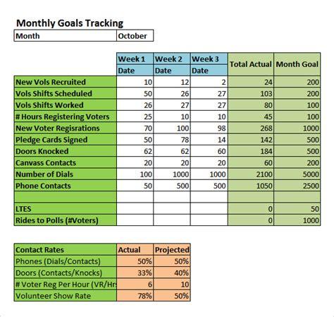 goal tracking samples   excel
