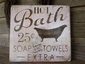 Bathroom, Decor, Wood, Signs, Country, Home, Decor, Home, Decor