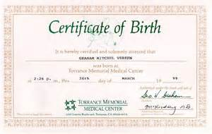 Birth Certificate Template Printable