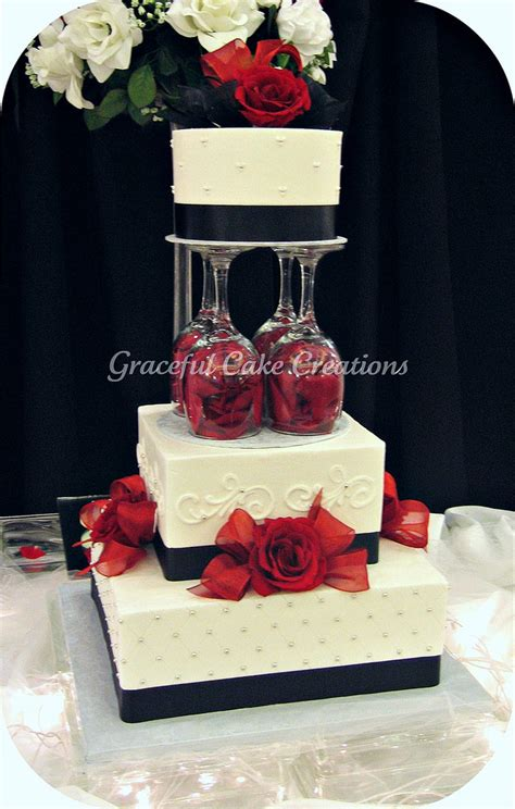 Elegant White Black And Red Wedding Cake A Photo On