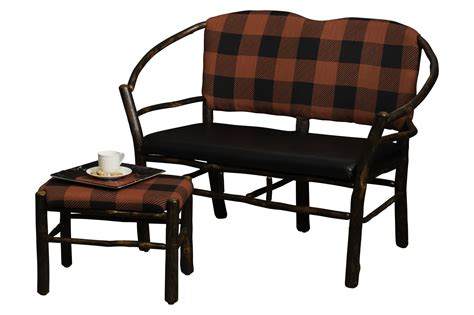 leather settee bench hickory hoop settee with fabric or leather seat and