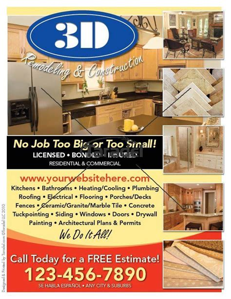 home construction flyer info  affording house repairs