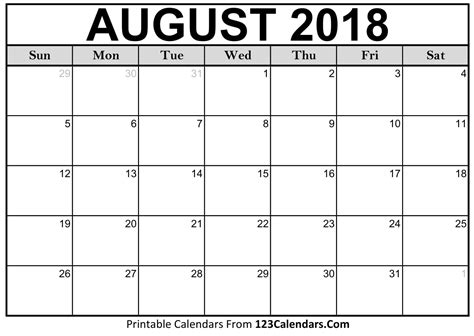 august 2018 calendar template printable august 2018 calendar templates 123calendars