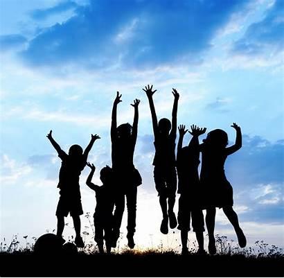 Children Jumping Nonprofit Organization Together Silhouettes Joy