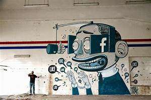 Cartoony mural depicts man obsessing over facebook likes for Cartoony mural depicts man obsessing over facebook likes