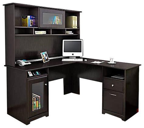 espresso computer desk with hutch bush cabot l shape computer desk with hutch in espresso