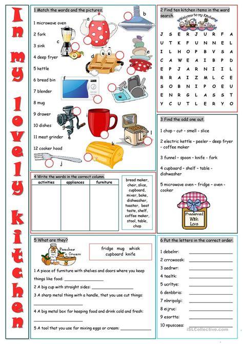 kitchen vocabulary exercises worksheet  esl
