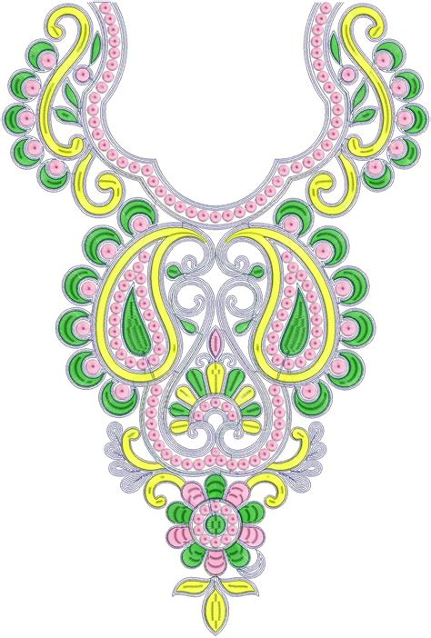 embroidery designs for fashion neck embroidery design