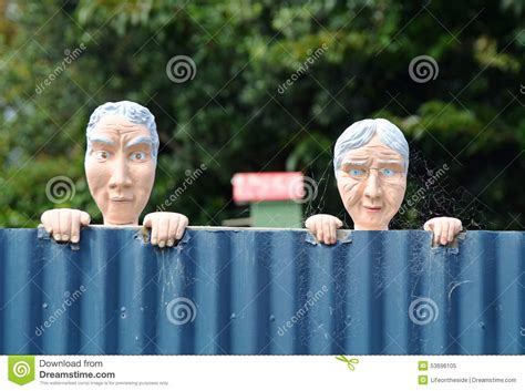 conceptual funny nosy neighbours  man woman