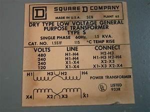 Square D Dry Low Voltage General Purpose Transformer Single Phase 480  240v 1 5kv