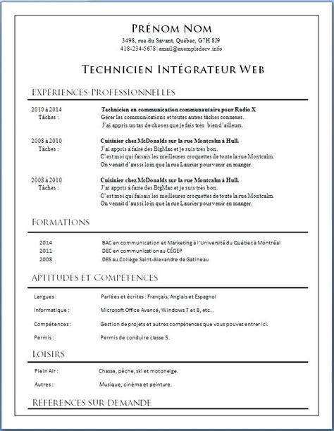 Modèle De Cv Professionnel Gratuit by Exemple Cv Pro Mod 232 Le De Cv 233 Tudiant Artere Adour Tigf