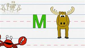 write the letter m alphabet writing lesson for children With singing letters