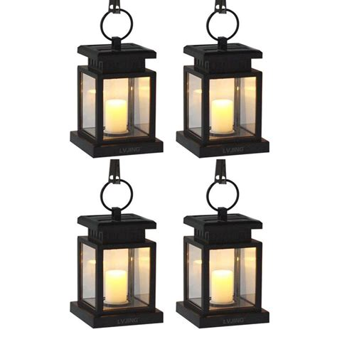 4pcs outdoor hanging candle light solar powered led garden