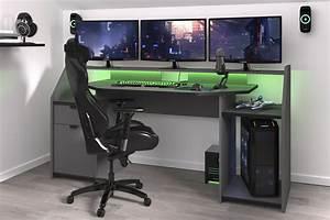 Pc Tisch Gamer : gamer tisch pc schreibtisch inkl led beleuchtung set up von parisot grau schwarz ~ A.2002-acura-tl-radio.info Haus und Dekorationen