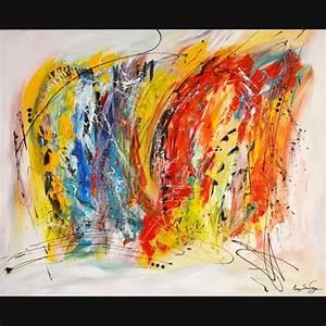 Tableau Contemporain Grand Format : grand tableau contemporain abstrait multicolore peinture coloree ~ Teatrodelosmanantiales.com Idées de Décoration