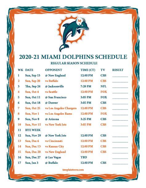 printable   miami dolphins schedule