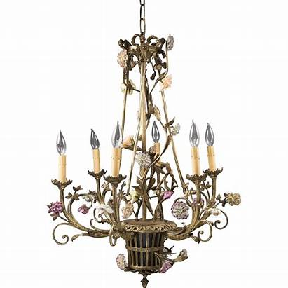 Chandelier Bronze French Porcelain Fitted Arm Basket