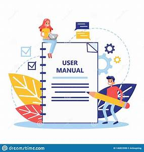 User Manual Concept  Guide Book Or Instruction Stock