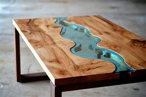 The Live Edge Wood Coffee Table With Glass River Regarding