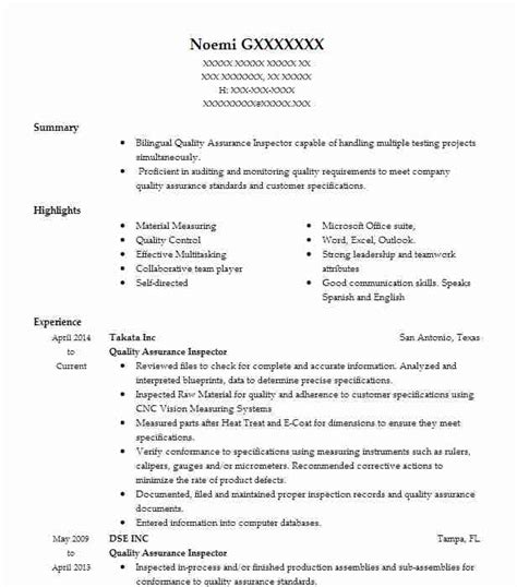 Quality Inspector Resume by Quality Assurance Inspector Objectives Resume Objective
