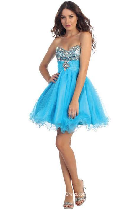 junior bridesmaid dresses princess strapless sweetheart beaded blue tulle cocktail dress groupdress