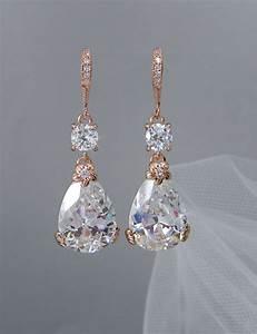 rose gold bridal earrings drop wedding earrings swarovski With gold wedding ring earrings
