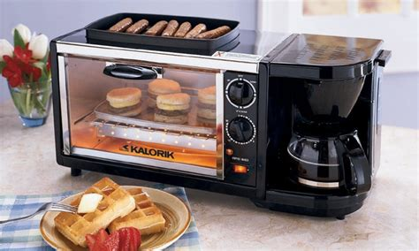 coffee maker toaster oven 3 in 1 breakfast station groupon goods