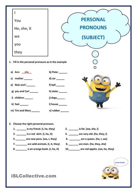 personal pronouns subject personal pronouns worksheets