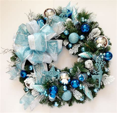 blue and white wintery holiday wreath 24 inches sale
