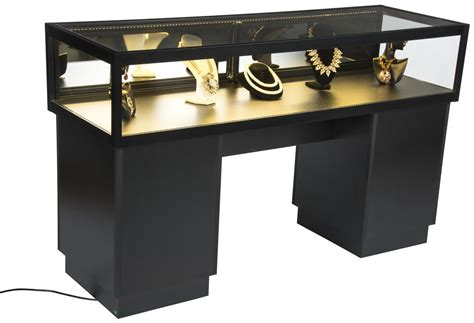 lockable jewelry display black with tempered glass