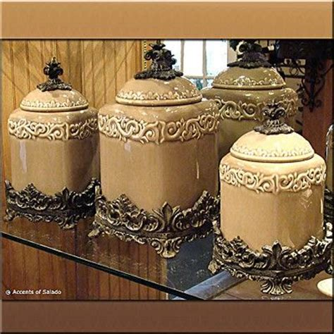 Tuscan Style Kitchen Canister Sets by Caffe Latte Canister Set 3 Kitchen Canisters