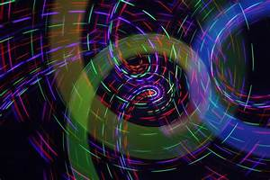 Digital, Art, Abstract, Spiral, Colorful, Light, Trails, Blue