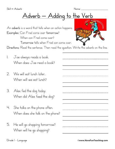 adverb worksheets teaching worksheet on adverbs kidz activities
