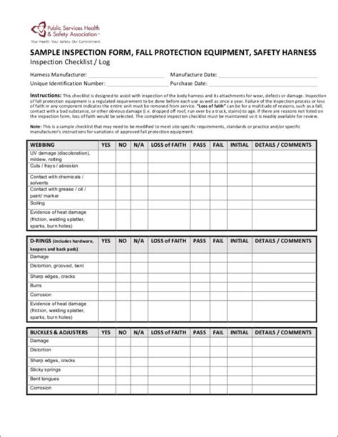 inspection checklist samples templates