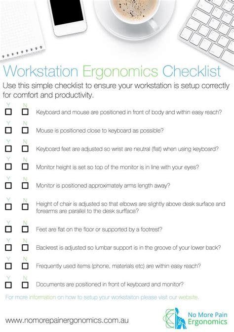 workstation ergonomic checklist resource