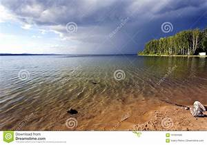 Dark, Storm, Clouds, Before, Rain, Above, The, Lake, Stock, Image