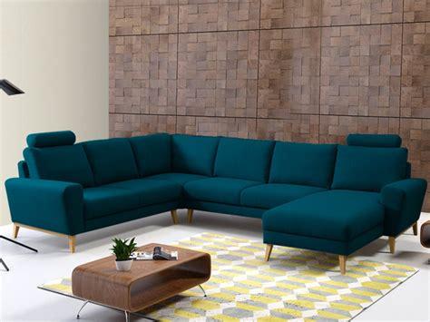canapé d angle bleu canapé d 39 angle panoramique en tissu bleu ou gris visby