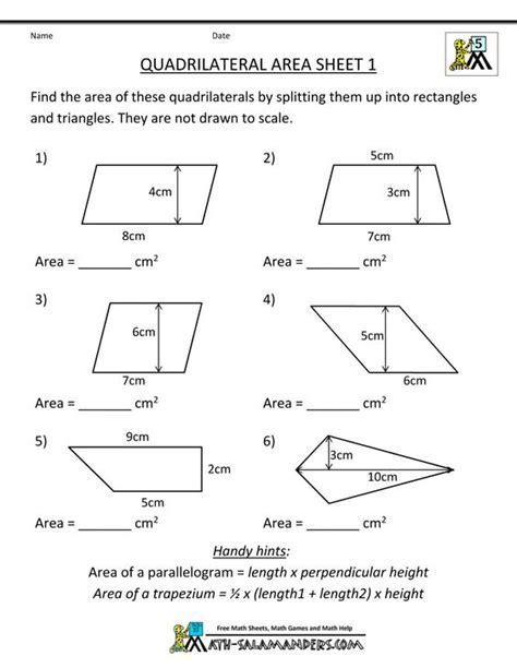 s worksheets quadrilaterals practice math worksheets quadrilateral area 1