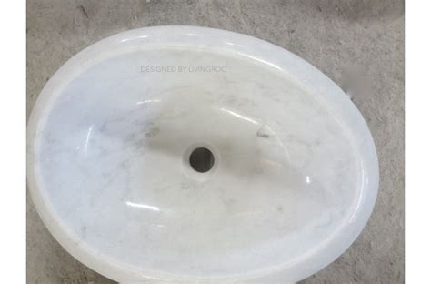 500mm Oval White Marble Stone Wet Room Wash Basin Sink
